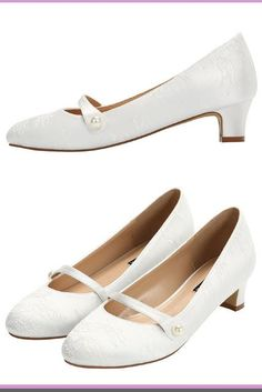 ba9ebc1359b ERIJUNOR Wedding Comfort Low Heel Women Dyeable Satin Lace Shoes for Bride  Ivory White ivory lace