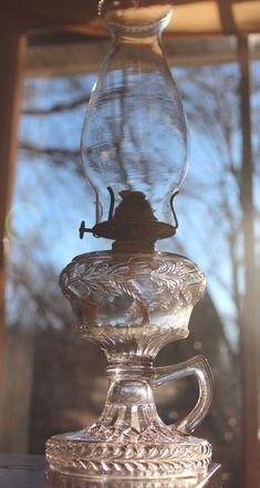 FANCY c.1887 ANTIQUE VICTORIAN EAPG POPPY BAND KEROSENE OIL FINGER LAMP LANTERN #Lamps