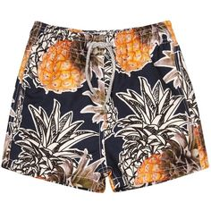 Vilebrequin Pineapple-print swim shorts - 4-6 years (£85) ❤ liked on Polyvore featuring shorts, short and шорты