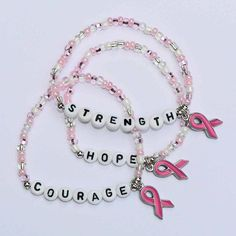 Breast Cancer Awareness Bracelet Personalized by stargazinglily, $4.25 #breastcancerawarenesscrafts