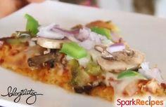 Healthy Veggie Pizza on Flourless Cauliflower Crust Recipe