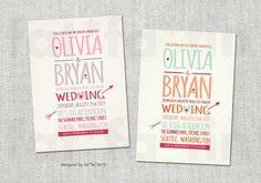 Sweetheart Love Arrow Modern Text PRINTABLE Wedding Invite   Custom Romantic Valentine Whimsical Wedding Invitation PRINTED Card / jpg / pdf...