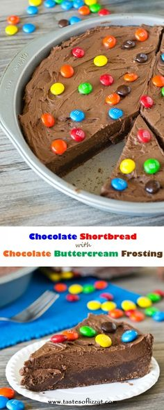 This thick, fudgy Chocolate Shortbread with Chocolate Buttercream Frosting is topped with M&M candy and is every chocolate lover's dream!