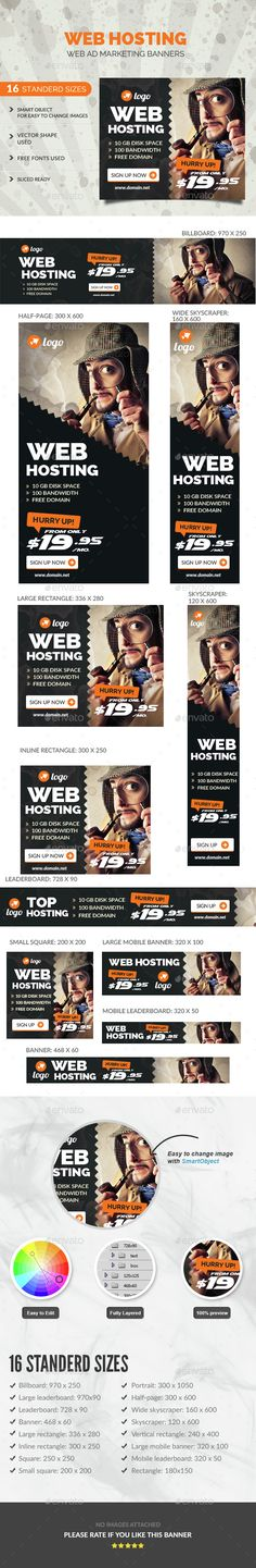Web hosting Banners — Photoshop PSD #hosting #supermarket • Available here → https://graphicriver.net/item/web-hosting-banners/14526685?ref=pxcr
