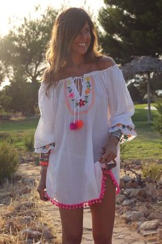 To find out about the Beige Off The Shoulder Embroidered Shift Dress at SHEIN, part of our latest Dresses ready to shop online today! Boho Fashion, Fashion Outfits, Womens Fashion, Estilo Hippie, Mode Boho, Beach Dresses, Dress Beach, Boho Chic, Beachwear