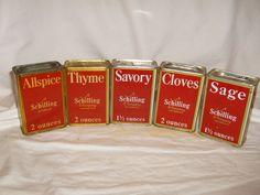 VINTAGE A SCHILLING & COMPANY SPICE TIN-SAN FRANCISCO lot Of 5 Allspice Savory #ASchillingCompany