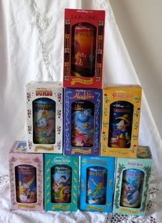 We used to have these when I was growing up. I remember, once I could read, I'd pick my favorite cup and read the whole back before I'd get up from the table.