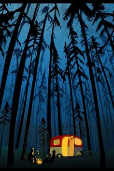 twilight camping in the woods poster-print-illustration - Wohnwagen Camping Desserts, Camping Snacks, Funny Camping, Tent Camping, Camping Signs, Backyard Camping, Camping Recipes, Camping Activities, Camping Crafts