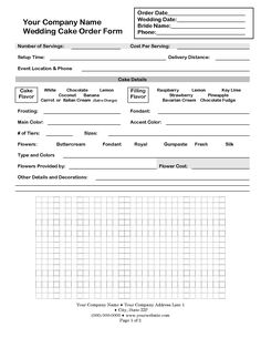 Order Form Just In Case I Do Start A Business  CupcakeShoppe