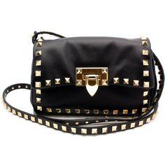 """Valentino """"CWB00934"""" Rockstud Black Leather Flap Handbag ($1,595) ❤ liked on Polyvore featuring bags, handbags, shoulder bags, purses, bolsas, black, valentino handbags, black handbags, black shoulder handbags and black purse"""