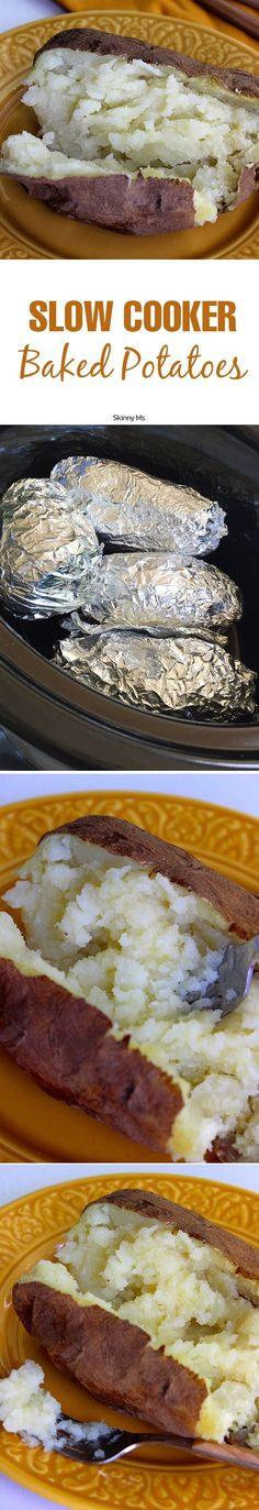THE BEST Slow Cooker Baked Potatoes. Absolutely delicious! 5-Minutes prep and 8 hours cooking in the crockpot. #potato
