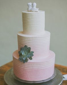 100 Wedding Cakes that WOW | Hints of ombre and a single succulent to garnish. The simplicity is breathtaking and equally delicious! See more of this Bare Feet Boho Wedding here captured by Day 7 Photography.