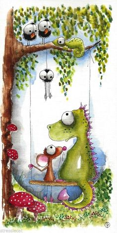 Dragon and mouse - US $12.50 in Art, Direct from the Artist, Paintings