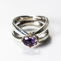 Rare Pandora Ring with Silver,14k Gold and Amethyst 190389AM  фото
