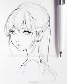 Asia Ladowska is creating Illustrations Fanarts and Comics Patreon Anime Drawings Sketches, Girly Drawings, Anime Sketch, Manga Drawing, Manga Art, Anime Art, Drawing Faces, Art Kawaii, Arte Sketchbook