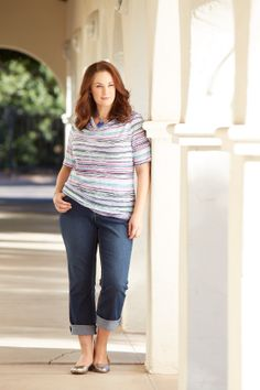 Our water color stripe drape tee and our fashion denim make the perfect outfit for an afternoon hanging out with friends.