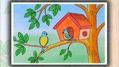 How to draw Birds for kids Bird Drawing For Kids, House Drawing For Kids, Scenery Drawing For Kids, Art Drawings For Kids, Bird Drawings, Painting For Kids, Oil Pastel Drawings Easy, Colorful Drawings, Easy Drawings