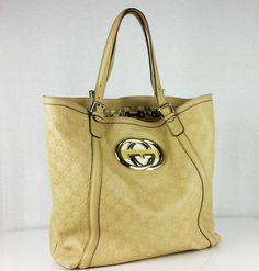 AUTHENTIC GUCCI Guccisima Britt Leather Hobo Bag Large Tote with Gold Hardware