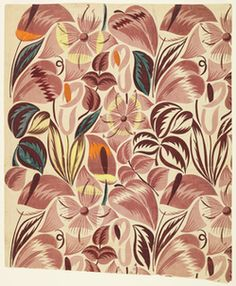 """Drawing, """"Textile Design: Tropical Flowers"""", 1912–13 Pattern of tropical flowers in pink, orange, yellow, green, and burgundy on cream ground."""