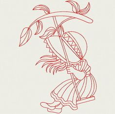 Redwork Swing Sunbonnets 07(Lg) machine embroidery designs
