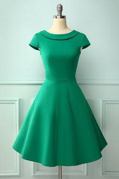 Zapaka Style A Line Green Boat Neck Swing Vintage Dress With Collar Lace Burgundy Dress, Mint Dress, Green Dress, Pin Up Dresses, 50s Dresses, Vintage Dresses, Vestidos Vintage, Midi Dress Sale, Lace Midi Dress