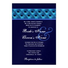 20 best royal blue wedding invitations images on pinterest royal royal blue and midnight peacock wedding metallic custom announcements stopboris Image collections