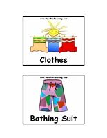 Clothing Flash Cards - Clothing Flash Cards Include: Clothes, Bathing Suit, Belt, Blouse, Boots, Bracelet, Coat, Dress, Earrings, Glasses, Gloves, Hat, Jacket, Jeans, Jersey, Mini Skirt, Mittens, Necklace, Overalls, Overcoat, Pants, Raincoat, Ring, Sandals, Scarf, Shirt, Shoes, Shorts, Skirt, Socks, Suit, Sweater, Tie, T-Shirt, Vest, Watch.