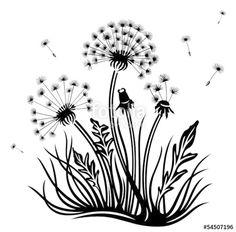 Dandelion vector image on VectorStock Silhouette Art, Silhouette Cameo Projects, Fairy Templates, Dandelion Drawing, Pop Art Wallpaper, Garage Art, Flower Doodles, Zen Art, Flower Images