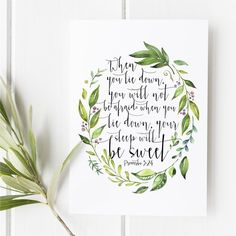 Proverbs 3:24 - When you lie down you will not be afraid - Scripture art - Bible verse - Illustrated verse - Verses for women - Bible verse wall art - Bible verse for women - Bible verse for girls - Girls room decor - Girl bedroom - Gifts - Watercolor bible verse - Snow and company - She reads truth