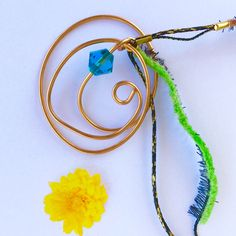 Boho Pendants Wire Necklace, Washer Necklace, Ribbon Jewelry, Wire Pendant, Pendants, Hand Painted, Boho, Handmade, Hand Made