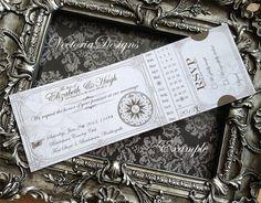 Printable Steampunk Wedding Ticket Invitation by VectoriaDesigns