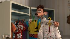 """In """"Flushed Away"""" the main character is voiced by Hugh Jackman. In this scene, he has to choose an outfit, you can see the suit Wolverine which is played by Hugh Jackman too. Marvel Characters, Marvel Movies, Dreamworks Animation Skg, Away Movie, Wolverine Costume, Flushed Away, Boys Food, Old Man Logan, Act For Kids"""