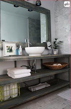Open Shelving Bathroom Vanity, Salvage Savvy: DIY Bathroom Vanity ...