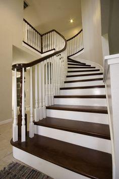 Amazing Brazilian Cherry Stairs With White Risers | Custom Hardwoods, LLC Price  List PRICE EACH TREADS