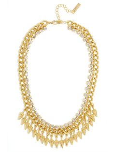 we love the tiny cone spike pendants on our gold fringe benefits collar! @BaubleBar #BBXPF