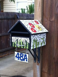 My homemade mosaic letterbox, love it! Mosaic Crafts, Mosaic Projects, Mosaic Art, Mosaic Glass, Glass Art, Wooden Mailbox, House Letters, Letter Boxes, Mosaic Birds