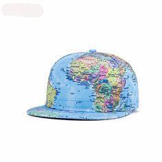 3D Print World Map Snapback Hat Unisex Hip Hop Cap Fashion Luxury Hat Summer Sun Hats Kpop