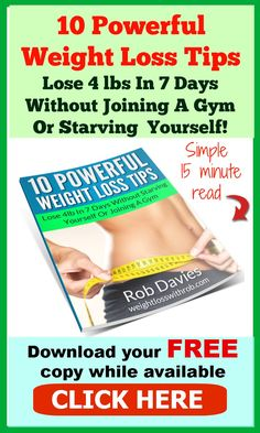 If you only take one thing away from this book and use it, I promise you, it'll be worth it :) Grab your FREE copy and learn the healthy way to lose weight fast and keep it off for good. Hurry, grab it now - http://www.weightlosswithrob.com/free-special-report/