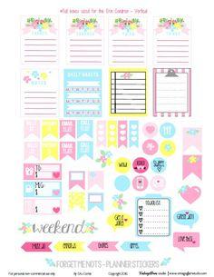 Nomeolvides pegatinas Planner | imprimir gratis, sólo para uso personal.