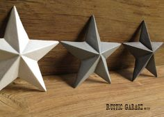 Set Of 3 Cast Iron Texas Stars Handpainted Metal Wall Hangings 7 5
