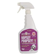 Urthpet Oopsie Poopsie Spot Cleaning Spray - 24 oz http://www.thatpetplace.com/urthpet-oopsie-poopsie-spot-cleaning-spray-24-oz?utm_content=buffer31a30&utm_medium=social&utm_source=pinterest.com&utm_campaign=buffer | Oopsie Poopsie Spot Cleaning Spray helps quickly and effectively remove stains and odor resulting from pet accidents! Works great on carpets, fabrics and hard surfaces! Includes safe, all natural ingredients and an attractive peppermint scent.