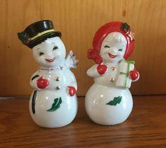 Vintage Christmas anthropomorphic snowman snow lady snow people salt pepper shakers