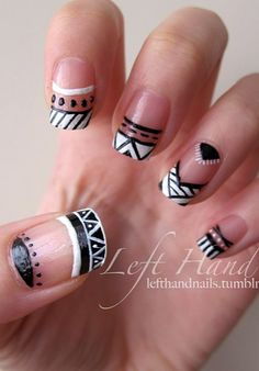 negative space tribal nail art