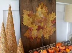 12 Projects for Your Home Using Autumn Leaves: Fall Leaf Art Leaf Projects, Diy Art Projects, Project Ideas, Easy Fall Crafts, Fall Diy, Autumn Crafts For Adults, Art Adulte, Autumn Leaves Craft, Fall Leaves