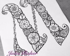 coloring pages - Digital Coloring Page Letter M from Letter Doodles Coloring Book Doodle Alphabet, Doodle Art Letters, Book Letters, Doodle Lettering, Alphabet Design, Lettering Design, Wire Letters, Abstract Coloring Pages, Flower Coloring Pages