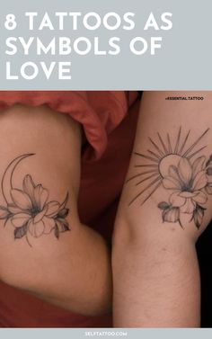 Do you want to get a couple tattoo with your significant other, or are you looking for tattoos that symbolize love? When thinking about tattoo ideas that symbolize love, why not consider the different types of love we experience? There are quite a lot to choose from. Click here for 8 tattoo ideas - from matching tattoos to infinity tattoos - that represent love. Self Tattoo Father Tattoos, Parent Tattoos, Mom Tattoos, Arm Tattoos For Guys, Couple Tattoos, Tattoo Designs Foot, Heart Tattoo Designs, Tattoo Designs For Women, Meaningful Tattoos For Men