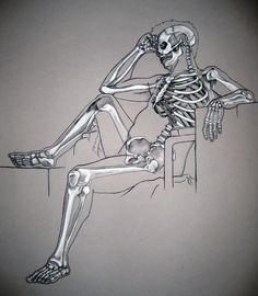 Skeleton Study - by Mon Amour Malade - on DeviantArt Human Skeleton Anatomy, Human Anatomy Drawing, Anatomy Study, Body Drawing, Skeleton Drawings, Skeleton Art, Skeleton Makeup, Skeleton Watches, Skull Makeup