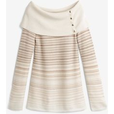White House Black Market Off-The-Shoulder Degrade Sweater (£56) ❤ liked on Polyvore featuring tops, sweaters, pink top, pink off the shoulder sweater, petite tops, off shoulder tops and white house black market sweaters