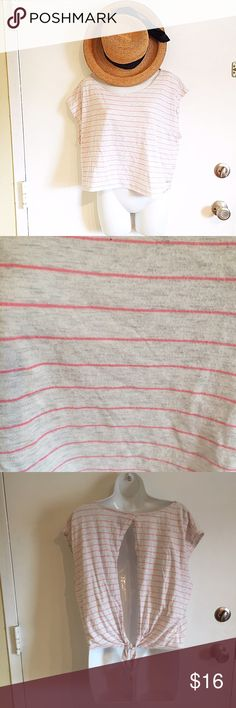 Victoria's Secret PINK Boxy Striped Open Back Top Victoria's Secret PINK Boxy Striped Open Back Top. Does have some piling. Boxy slightly cropped fit. Size large. #vs #vspink #pink #victoriassecret #victoriassecretpink #striped #boxy #top #openback #large #coral #pink #open #cutout #punkydoodle  No modeling Smoke and pet free home I do discount bundles PINK Victoria's Secret Tops