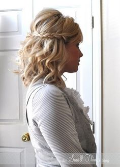 Cute hair style for medium length curly hair. Half up/ Half down style